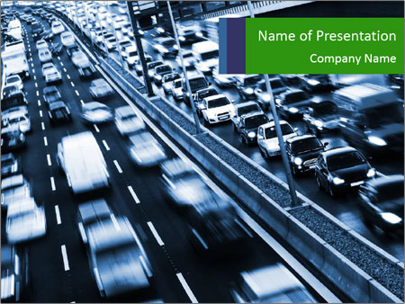 Congestion on a higway PowerPoint Templates