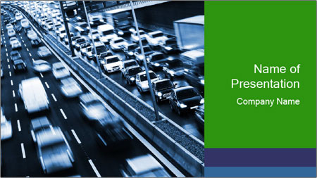 Congestion on a higway PowerPoint Template