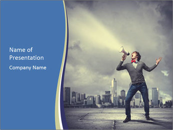 Man shouting loudly using megaphone PowerPoint Template - Slide 1