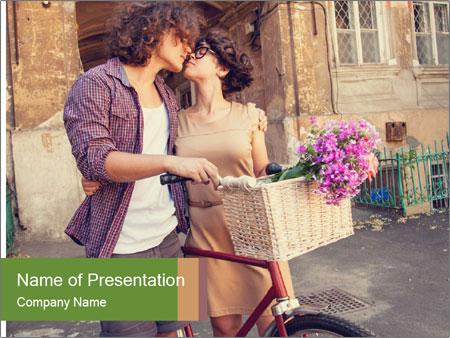 Couple near house PowerPoint Template