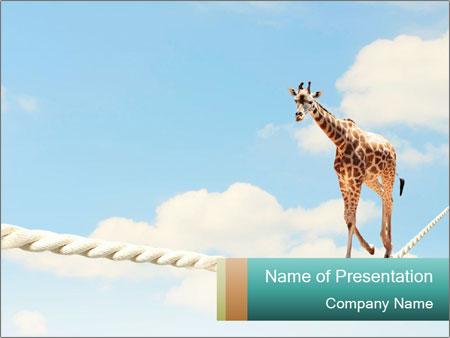 Giraffe walking PowerPoint Template