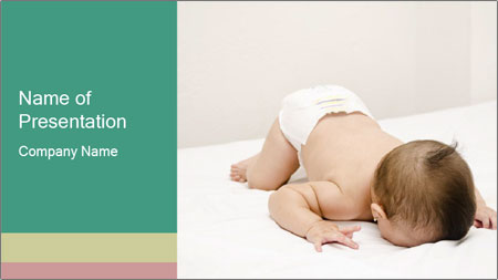 Baby on bed PowerPoint Template