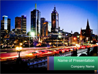 Melbourne by Night PowerPoint Templates - Slide 1