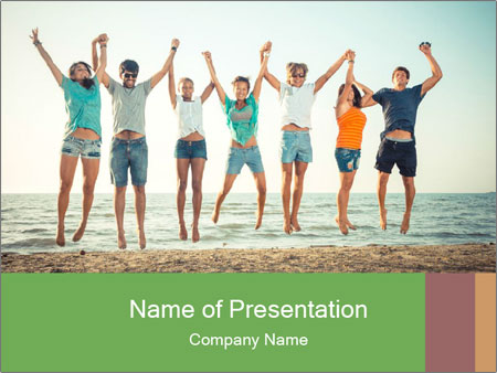 People Jumping at Beach PowerPoint Template