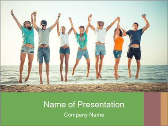 People Jumping at Beach PowerPoint Template - Slide 1