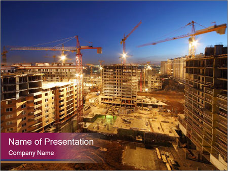 Tower cranes build PowerPoint Template
