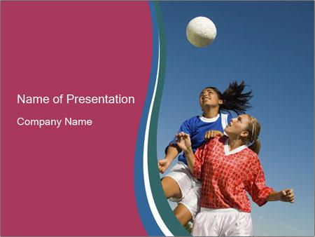 Girls heading soccer ball PowerPoint Template