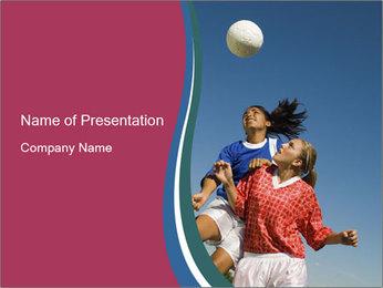 Girls heading soccer ball PowerPoint Template - Slide 1