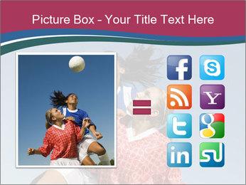 Girls heading soccer ball PowerPoint Template - Slide 21
