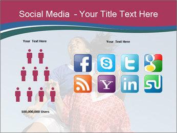 Girls heading soccer ball PowerPoint Template - Slide 5