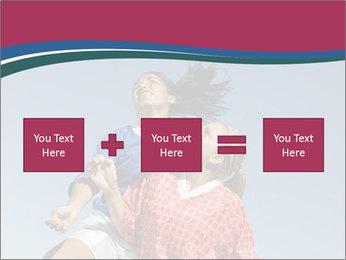 Girls heading soccer ball PowerPoint Template - Slide 95