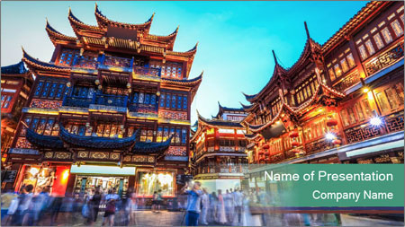 Beautiful yuyuan garden PowerPoint Template - Slide 1