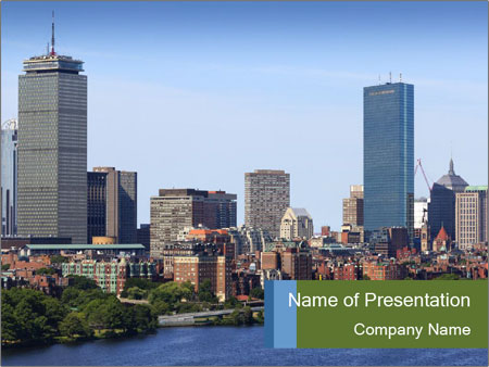 Aerial View of Boston PowerPoint Templates