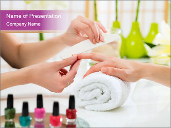 Woman in a nail salon PowerPoint Templates - Slide 1