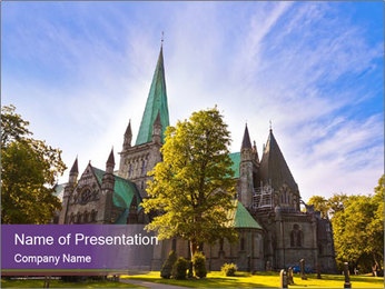 Cathedral in Trondheim Norway PowerPoint Template - Slide 1