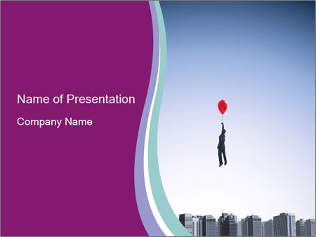 Man with a balloon PowerPoint Templates