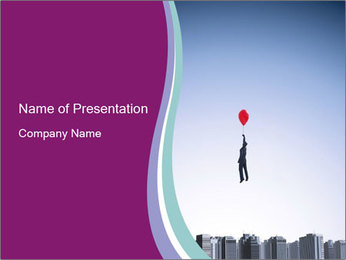 Man with a balloon PowerPoint Templates - Slide 1