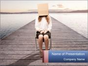 Woman sitting PowerPoint Templates