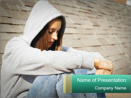 Sad lonely girl PowerPoint Template