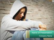 Sad lonely girl PowerPoint Templates