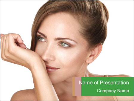 Beautiful brunette female PowerPoint Templates