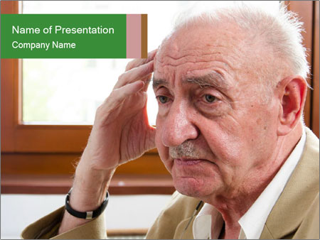Sad old man sitting PowerPoint Templates