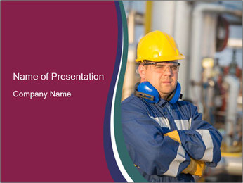 Oil workers PowerPoint Templates - Slide 1
