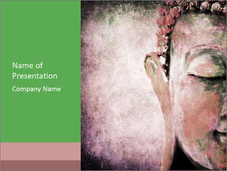 Grunge Buddha red PowerPoint Template