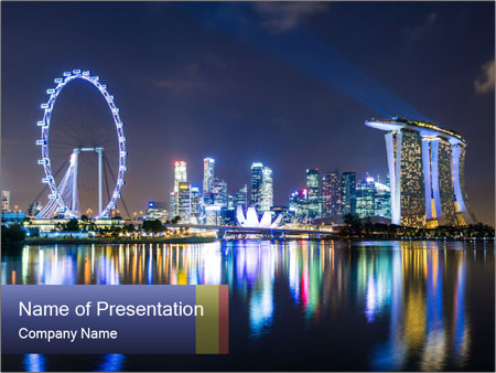 Singapore skyline PowerPoint Template