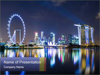 Singapore skyline PowerPoint Template - Slide 1