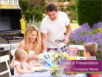 Barbeque In Garden PowerPoint Template - Slide 1