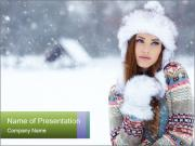 Woman in wintertime outdoor PowerPoint Templates