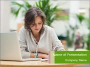 Concentrated female PowerPoint Templates