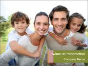 Parents giving piggyback ride PowerPoint Templates
