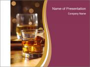 Whiskey glass at bar PowerPoint Templates
