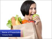 Girl eats a green apple PowerPoint Templates