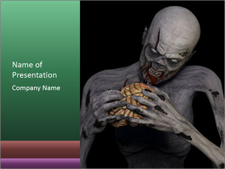 Zombie Eating Brain PowerPoint Template