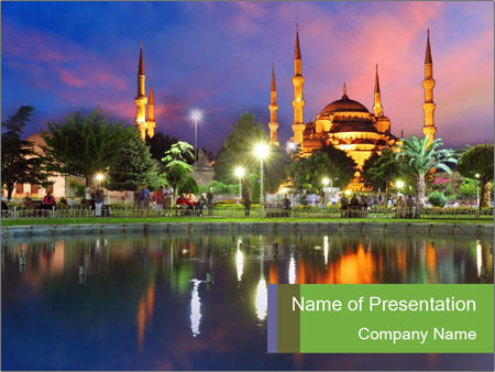 Blue Mosque In Turkey Powerpoint Template Backgrounds Id