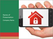 Smartphone with home on display PowerPoint Templates