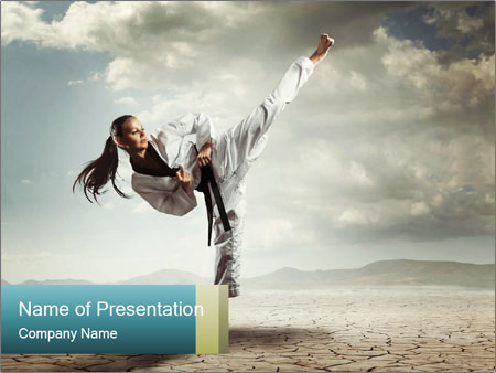 Karate girl kick powerpoint template backgrounds id 0000095987 karate girl kick powerpoint template toneelgroepblik