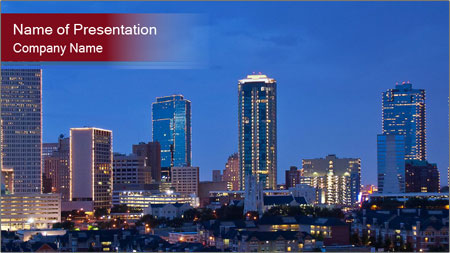 Texas at night PowerPoint Template