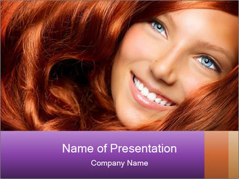 Healthy Long Red Curly Hair PowerPoint Template - Slide 1