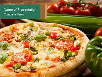 Freshly prepared pizza PowerPoint Template - Slide 1