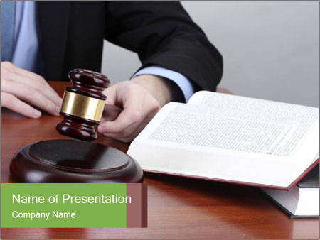 Wooden gavel PowerPoint Template