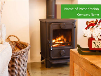 Christmas fireplace PowerPoint Template - Slide 1