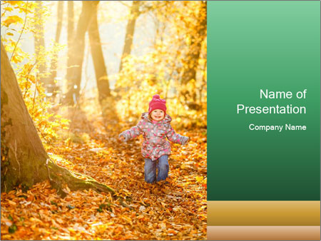 Ggirl walking in the park PowerPoint Template