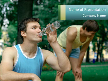 Young sportsman drinking PowerPoint Template - Slide 1