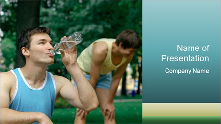 Young sportsman drinking PowerPoint Template