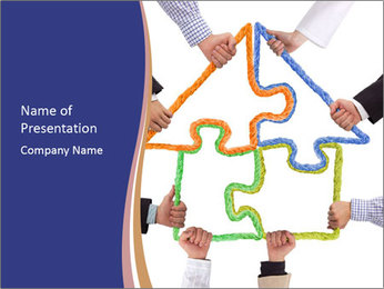 Hands holding puzzle PowerPoint Template - Slide 1