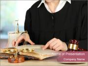 Judge sitting at table PowerPoint Template